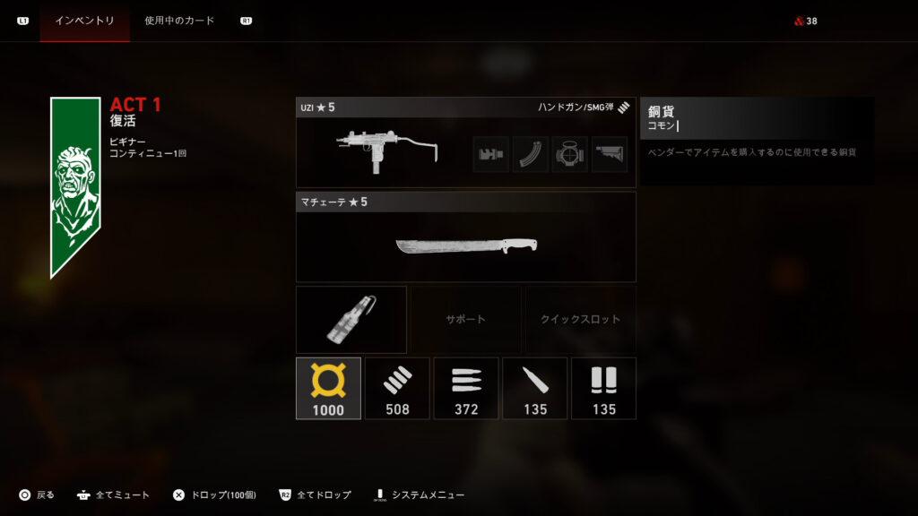 Back 4 Blood_装備メニュー
